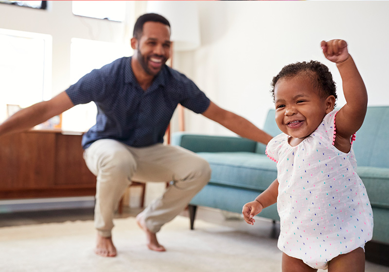 Excited dad with talking toddler